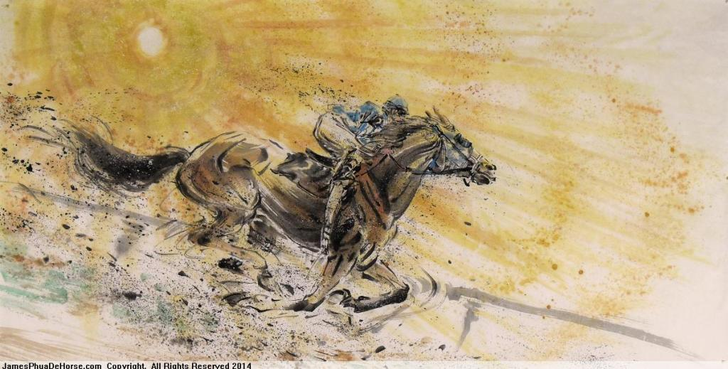 C0084-Golden Sunlight, Golden Horse 70 x 138cm