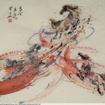 James Phua Chinese horse painting 瑞全中国水墨画马, Three Horses In Red Stream (飞天马)