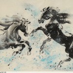 James Phua Chinese horse painting 瑞全中国水墨画马, Two Horses (双骏图)