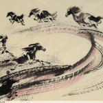 James Phua Chinese horse painting 瑞全中国水墨画马, Flying Eight Horses (飞天八骏)