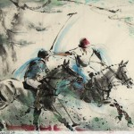 James Phua Chinese horse painting 瑞全中国水墨画马, Polo (马球)