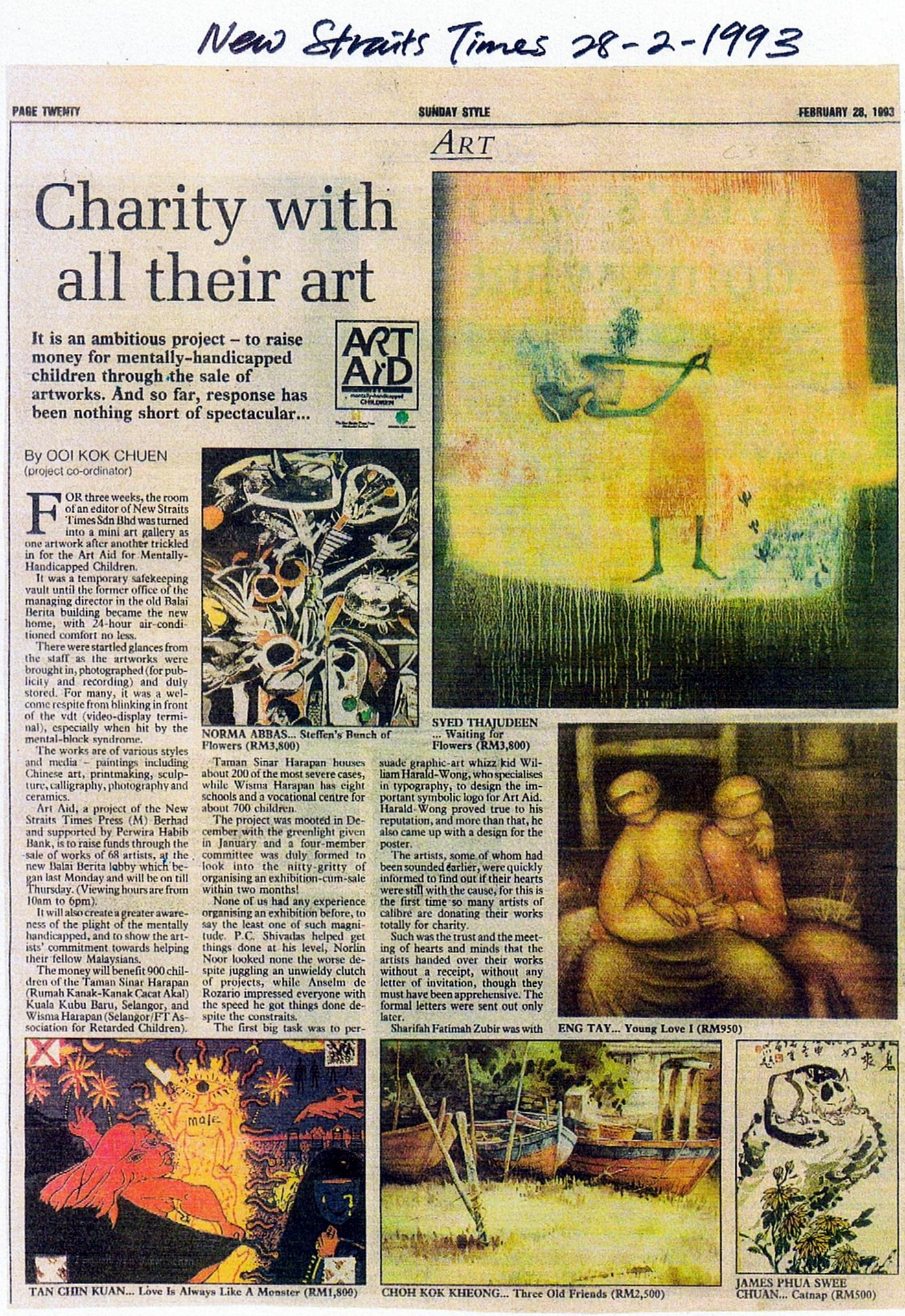 I participated in 'Art Aid' , a charity art show organized by the News Straits Times raising funds for mentally-handicapped children in 1993.