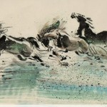 James Phua Chinese horse painting 瑞全中国水墨画马, Three Horses (三骏图)