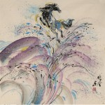James Phua Chinese horse painting 瑞全中国水墨画马, Horse With Fountain (飞天马)69 x 68cm