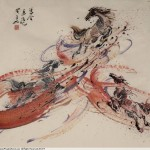 James Phua Chinese horse painting 瑞全中国水墨画马, Three Horses In Red Stream (飞天马)68.5 x 69cm