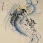 James Phua Chinese horse painting 瑞全中国水墨画马, Two Horses By The Moon (飞天马)69.5 x 68cm