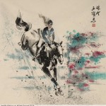 James Phua Chinese horse painting 瑞全中国水墨画马, Show Jumping (跃马术)70 x 69cm