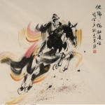 James Phua Chinese horse painting 瑞全中国水墨画马, Show Jumping (跃马术)69.5 x 68.5cm