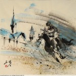 James Phua Chinese horse painting 瑞全中国水墨画马, Horse Racing (赛马)69.5 x 68.5cm