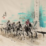 James Phua Chinese horse painting 瑞全中国水墨画马, Horse Racing (赛马)69.5 x 67.5cm