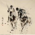 James Phua Chinese horse painting 瑞全中国水墨画马, Polo (马球)69 x 69.5cm