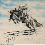 James Phua Chinese horse painting 瑞全中国水墨画马, Show Jumping (跃马术)68 x 69cm
