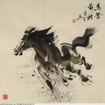 James Phua Chinese horse painting 瑞全中国水墨画马, Heading For Prospects (马登前程) 68 x 69cm
