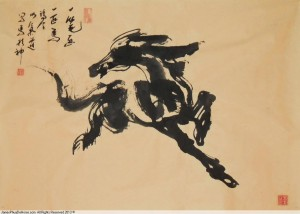 James Phua Chinese horse painting 瑞全中国水墨画马, Single-Stroke-Horse Painting (一笔马)67 x 93cm