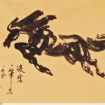 James Phua Chinese horse painting 瑞全中国水墨画马, Single-Stroke-Horse Painting 一笔马(凌云)67 x 114cm