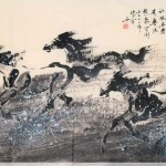 James Phua Chinese horse painting 瑞全中国水墨画马, Three Knights In Snow (雪中三俠)