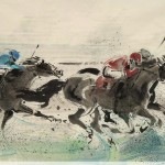 James Phua Chinese horse painting 瑞全中国水墨画马, Horse Racing (赛马)
