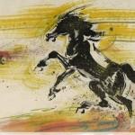 James Phua Chinese horse painting 瑞全中国水墨画马, Flying Eight Horses (飞天八骏)