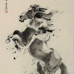 James Phua Chinese horse painting 瑞全中国水墨画马, Joy In Sprint (春风得意)