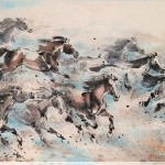 James Phua Chinese horse painting 瑞全中国水墨画马, Eight Horses (八骏奔腾万事兴) 69.5 x 136.5cm