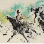 James Phua Chinese horse painting 瑞全中国水墨画马, Polo (马球)69.5 x 137cm