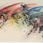James Phua Chinese horse painting 瑞全中国水墨画马, Inspiration Of Rainbow (七彩八骏 气势如虹) 69.5 x 137cm