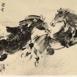 James Phua Chinese horse painting 瑞全中国水墨画马, Joy In Snowy Spring (飞雪片片疑瑞,马蹄声声报春) 69.5 x 137cm