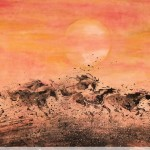 James Phua Chinese horse painting 瑞全中国水墨画马, Eight Horses Under Sunset (夕下八骏)69.5 x 136.5cm