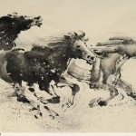 James Phua Chinese horse painting 瑞全中国水墨画马, Morale Is Never Low (霜蹄奔驰百练坚) 69.5 x 137cm