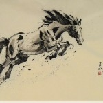 James Phua Chinese horse painting 瑞全中国水墨画马, Aiming At High Level (壮志凌云业绩新) 69.5 x 136.5cm