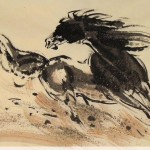 James Phua Chinese horse painting 瑞全中国水墨画马, Sprinter On Sandy Ground (尘沙滚滚马蹄疾) 70 x 138cm