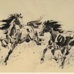 James Phua Chinese horse painting 瑞全中国水墨画马, Galloping In Spring (马蹄声声报春来) 69.5 x 136cm