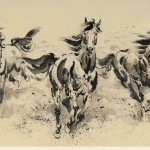 James Phua Chinese horse painting 瑞全中国水墨画马, Three Horses Bringing Prosperity (骏马蹄飞各业昌) 70 x 136cm