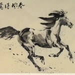 James Phua Chinese horse painting 瑞全中国水墨画马, Galloping In Windy Spring (春风得意马蹄疾) 70 x 138cm