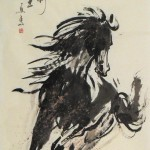 James Phua Chinese horse painting 瑞全中国水墨画马, Go Forward With Courage (勇往直前 一日千里) 138.5 x 70cm