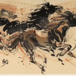 James Phua Chinese horse painting 瑞全中国水墨画马, Energetic Movement (动感) 70 x 138.5cm