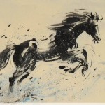 James Phua Chinese horse painting 瑞全中国水墨画马, Flourishing Year Of Horse (马年风生水起) 70 x 138.5cm