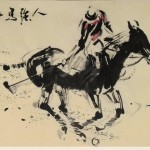 James Phua Chinese horse painting 瑞全中国水墨画马, Great Man, Great Horse (人强马壮展鸿图) 70 x 138.5cm