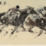 James Phua Chinese horse painting 瑞全中国水墨画马, No Striving, No Success (要拼才会赢) 70 x 138cm