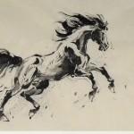 James Phua Chinese horse painting 瑞全中国水墨画马, Year Of Horse (马年运转如腾马,财来财聚财生财) 70 x 138cm