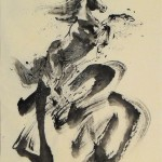 "James Phua Chinese horse painting 瑞全中国水墨画马, Horse With Chinese Character ""Triumph"" (1st panel) 70 x 138cm"