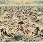 James Phua Chinese horse painting 瑞全中国水墨画马, When The Sun Rises (日升万马奔) 96.5 x 178.5cm