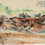 James Phua Chinese horse painting 瑞全中国水墨画马, Over The Top (勇往直前 超越巅峰) 97 x 180.5cm