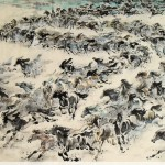 James Phua Chinese horse painting 瑞全中国水墨画马, Thousands Of Gallops (万马奔腾好前程) 96.5 x 179.5cm