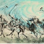 James Phua Chinese horse painting 瑞全中国水墨画马, A Swing Of Victory (王者一挥定江山) 97 x 180cm