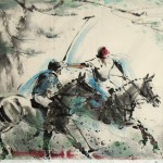 James Phua Chinese horse painting 瑞全中国水墨画马, Polo (马球)97 x 181cm