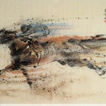 James Phua Chinese horse painting 瑞全中国水墨画马, Take The Lead, Over The Top (一马当先 超越巅峰) 96.5 x 178cm