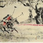 James Phua Chinese horse painting 瑞全中国水墨画马, Polo, King OF Sports (马球)96.5 x182cm