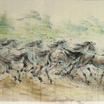 James Phua Chinese horse painting 瑞全中国水墨画马, Symbol Of Freedom And Forward Motion (自由的象征 前进的动力) 93 x 180.5cm