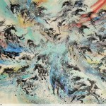 James Phua Chinese horse painting 瑞全中国水墨画马, Inspiration Of Colors (万马缤纷)96 x 178cm
